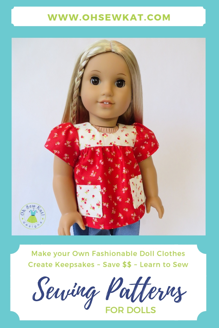 Sewing patterns to make your own doll clothes, easy patterns for beginners by oh sew kat. #ohsewkat #juliedoll #dollclothes #sewingpattern #easypattern #tutorial #70sdollclothes