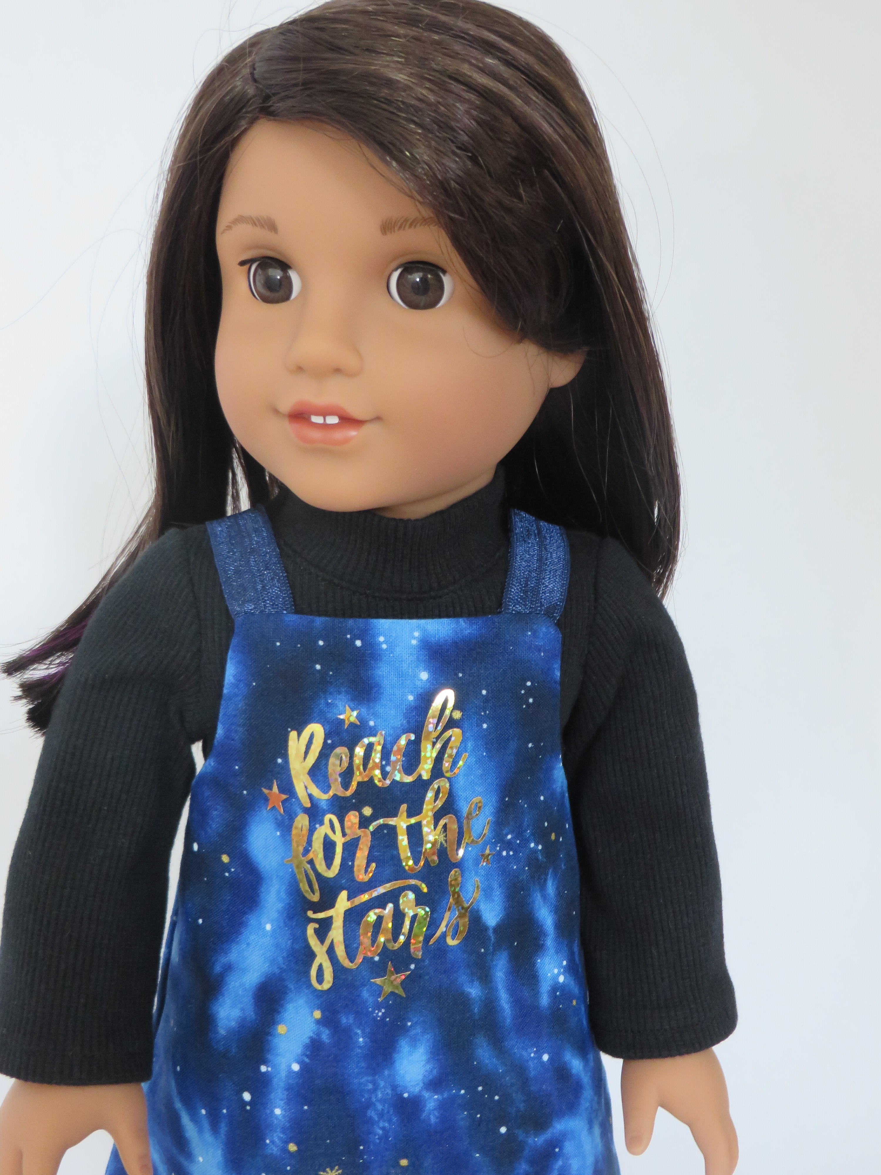 Easy sewing patterns to make doll clothes by OhSewKat. Digital downloads to print and sew. Make an easy jumper for American Girl Dolls. #ohsewkat #dollclothes #sewingpattern #diy #dolljumper #lucianavega