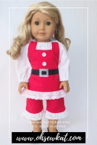Make a Christmas Elf, Gingerbread Man, or Santa outfit for your doll with the Boardwalk Boutique PDF Sewing Pattern for 18 inch dolls like American Girl. #christmaself #ohsekwat #santaoutfit #holidaycrafts #dollclothes
