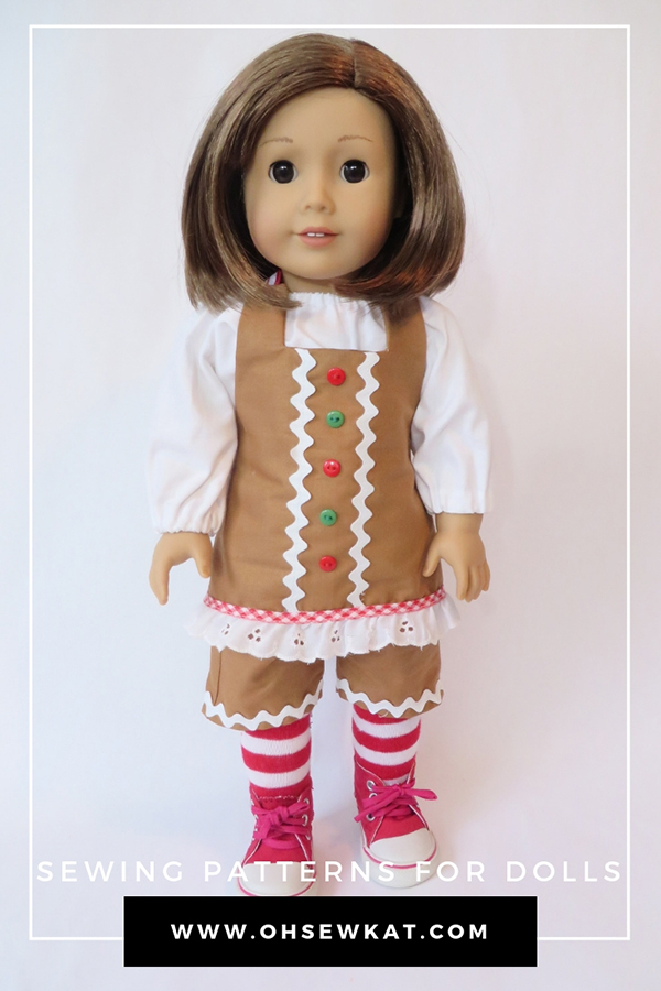 Make a Christmas Elf, Gingerbread Man, or Santa outfit for your doll with the Boardwalk Boutique PDF Sewing Pattern for 18 inch dolls like American Girl. #gingerbread #18inchdoll