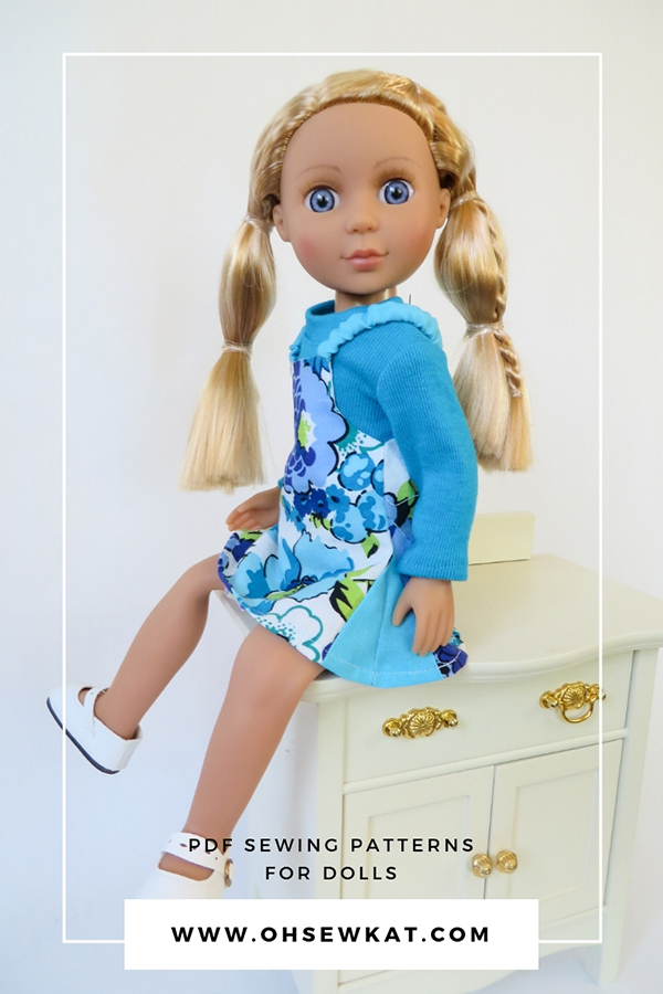 Make doll clothes for Glitter Girls 14 inch dolls- new posable dolls by Our Generation/Batat. Just like Wellie Wishers. Easy to sew beginner PDF sewing patterns for dolls. #glittergirls #welliewishers #ohsewkat #dollclothes #sewingpattern