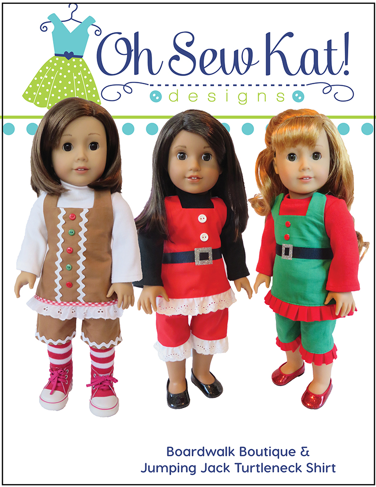Make a holiday outfit for your doll this Christmas season with easy sewing patterns by Ohsewkat. Easy to sew beginner PDF patterns to DIY doll clothes. #ohsewkat #christmasdress #dolldress #sewingpattern
