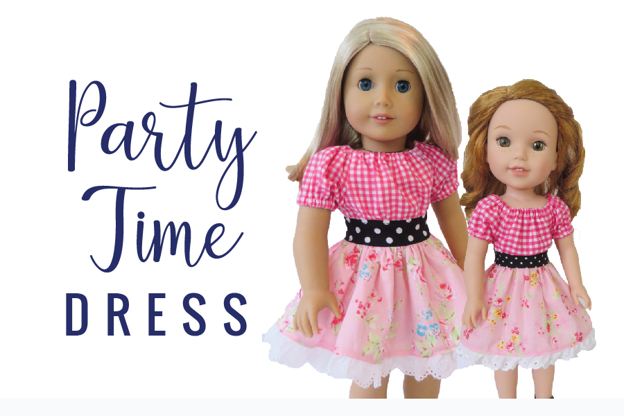 Party Time peasant dress sewing pattern for 18 inch dolls and other sizes by Oh Sew Kat! Find more patterns here to sew DIY Doll Clothes.