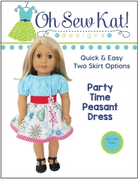 Make a holiday doll dress with easy sewing patterns for 18 inch and 14 inch dolls by Oh Sew Kat! Easy beginner patterns to DIY doll clothes like the Party Time Peasant Dress. #dolldress #holidaydress #christmas #18inchdoll #ohsewkat