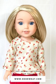 Make an easy doll blouse for your 14 inch doll with the School Bell Blouse sewing pattern from Oh Sew Kat. Easy PDF sewing patterns to DIY doll clothes. #welliewishers #dollclothes #sewingpatterns #14inchdoll