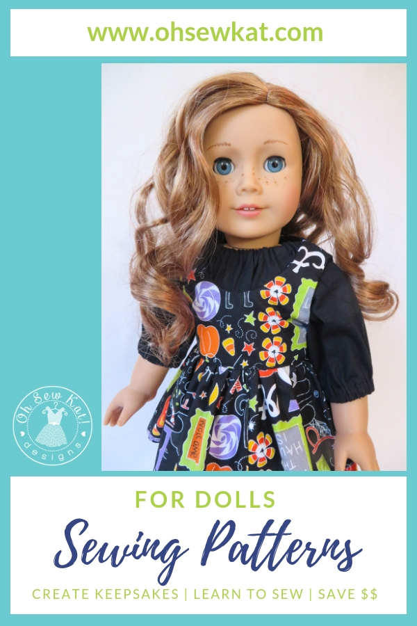 Sewing patterns for 18 inch dolls by Oh Sew Kat! Easy, beginner patterns that anyone can print and sew. PDF digital downloads. Ideas and free pattern at www.ohsewkat.com. #ohsewkat #diydoll #dollclothes #halloween #sewingpattern #easypattern