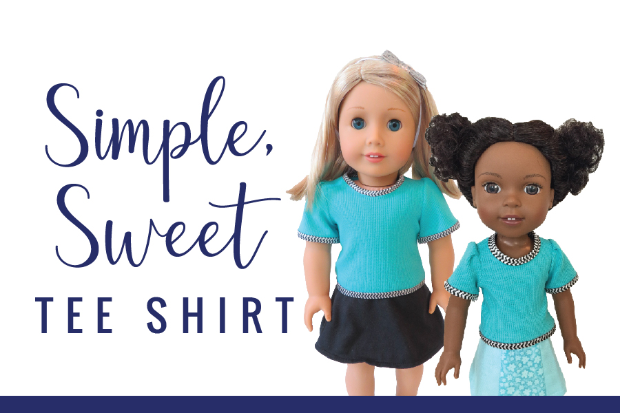Tee shirt sewing pattern by Oh Sew Kat! Easy to sew PDF patterns for 18 inch and 14 inch dolls.