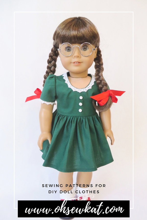 Make your own doll clothes for 18 inch dolls like Molly. The Sugar n Spice pattern is available from Oh Sew Kat! for American Girl dolls and other popular doll sizes. #sewingpattern #dollclothes #molly #holidaydress