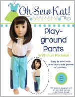 Make a pair of comfy pants for your A Girl for All Time Doll with this easy PDF sewing pattern for beginners by Oh Sew Kat! #agirlforalltime #sewingpattern #ohsewkat #easysewing