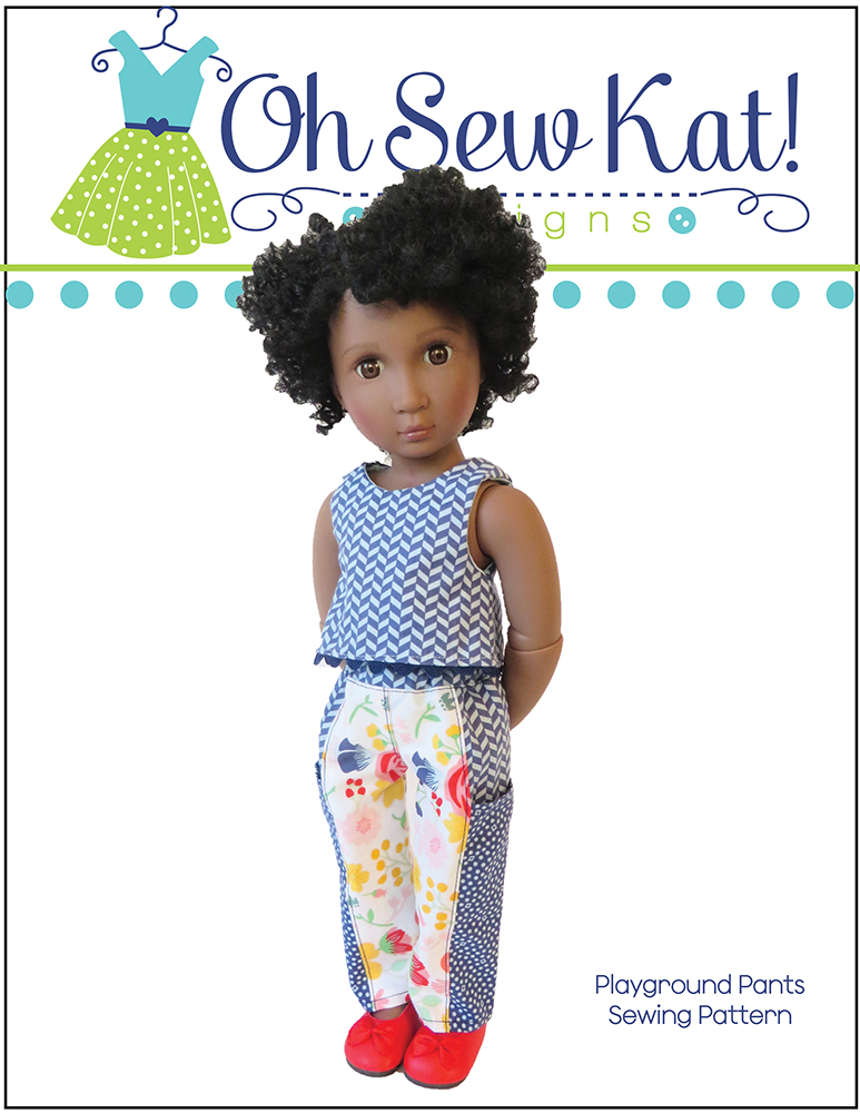 Make a pair of comfy pants for your A Girl for All Time Doll with this easy PDF sewing pattern for beginners by Oh Sew Kat! #agirlforalltime #sewingpattern #ohsewkat #pantspattern #bexdoll