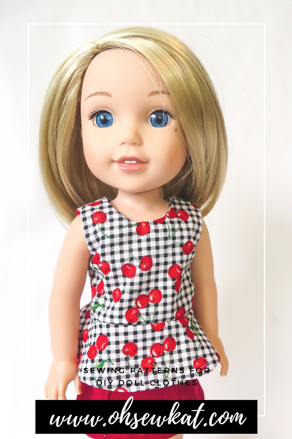 Make a cute, sleeveless top for your welliewishers doll with this easy pattern hack of the School Bell Blouse sewing pattern by Oh Sew Kat! #americangirl #welliewishers #ohsewkat #dollclothes #patternhack