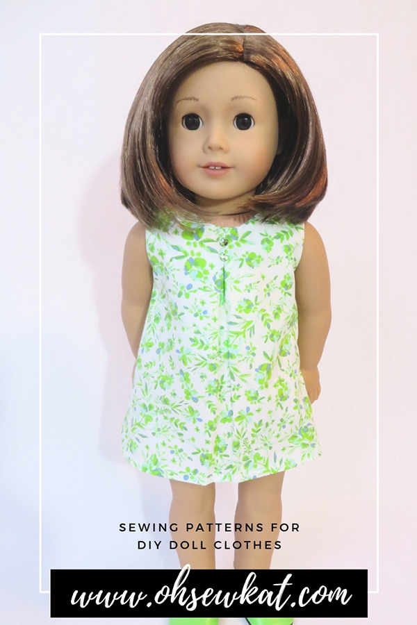 Sew a doll dress for your American Girl doll with easy print at home PDF sewing patterns by OhSewKat. #60sfashion #diydollclothes #sewingpattern #swingdress