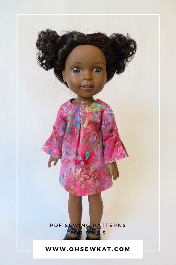 Sew a doll dress for your American Girl Wellie Wishers doll with easy print at home PDF sewing patterns by OhSewKat. #welliewishers #diydollclothes #sewingpattern #swingdress