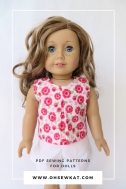 Make a cute, sleeveless top for your 18 inch doll with this easy pattern hack of the School Bell Blouse sewing pattern by Oh Sew Kat! #americangirl #welliewishers #ohsewkat #dollclothes #patternhack