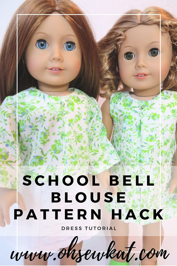 Make a doll dress with your blouse pattern with this easy tutorial for dolls by Oh Sew Kat! Easy PDF sewing patterns for beginners for 18 inch dolls and wellie wishers. #diydollclothes #ohsewkat #dolltutorial #freepattern