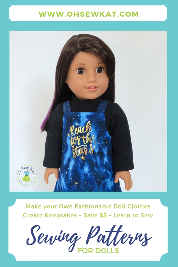Easy sewing patterns for 18 inch dolls like American Girl from Oh Sew Kat! PDF digital downloads to print and sew! Easy Up! Jumper Pattern is perfect for beginners. #ohsewkat #americangirl #dollclothes #sewingpattern #easydresspattern #easyjumper