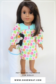 Make a nightgown for your 18 inch doll like American Girl or Our Generation with easy sewing patterns by Oh Sew Kat! Free skirt pattern at ohsewkat.com. #dollclothes #sewingpattern #nightgown #ohsewkat #18inchdolls