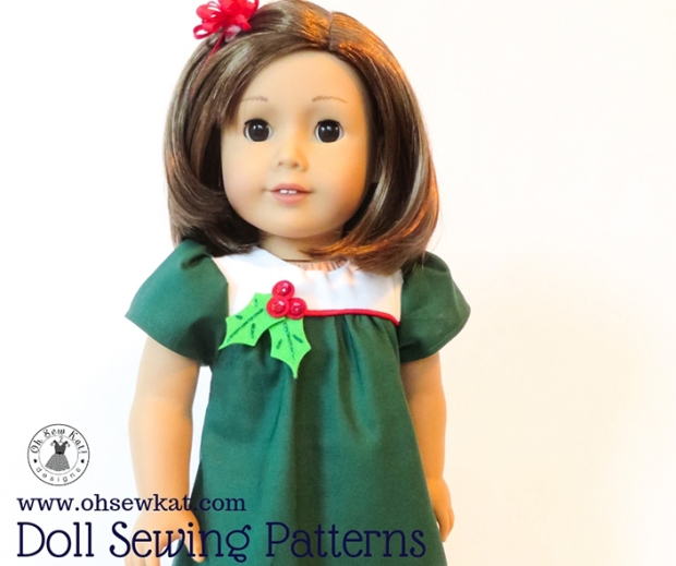 Make your 18 inch American Girl doll a classic Christmas dress with the easy to sew, step by step tutorial PDF Sewing pattern Bloomer Buddies by Oh Sew Kat! Also available in other popular doll sizes like Bitty Baby and Wellie Wishers. #christmasdress #holidaycrafts #sewingpattern #ohsewkat #americangirldoll