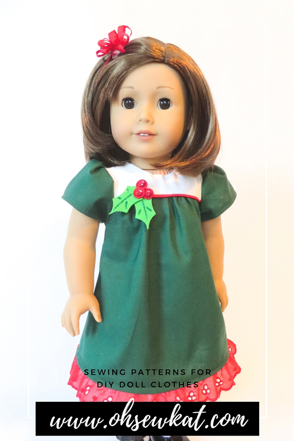 Make your 18 inch American Girl doll a classic Christmas dress with the easy to sew, step by step tutorial PDF Sewing pattern Bloomer Buddies by Oh Sew Kat! Also available in other popular doll sizes like Bitty Baby and Wellie Wishers. Find the full selection in my Etsy shop!