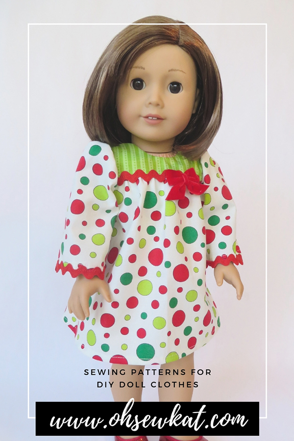 Easy sewing patterns to DIY doll clothes for 18 inch dolls like American Girl, Our Generation. #ohsewkat #bloomerbuddies #sewingpattern #18inchdolls #etsyshop Find the full selection in my Etsy shop!