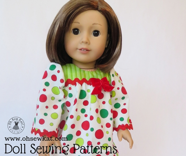 Make a holiday doll dress for your 18 inch American Girl doll with easy PDF sewing patterns from OhSewKat! #sewingpattern #dollclothes #diyholiday #holidaycraft #christmas