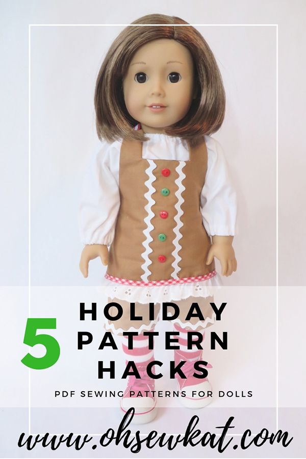 Make a cute holiday outfit for your 18 inch dolls with easy PDF sewing patterns from Oh Sew Kat! Free skirt pattern for subscribers. #diyholiday #holidaycrafts #dollclothes #ohsewkat #sewingpattern