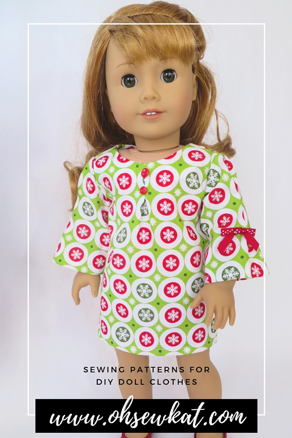 Make a holiday doll dress for 18 inch dolls with easy PDF sewing patterns for American Girl dolls. #ohsewkat #18inchdolls #sewingpattern