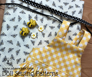 Make cute overall style outfits for Blaire Wilson GOTY 18 inch doll with easy sewing patterns by Oh Sew Kat! #blairewilson #americangirldoll #ohsewkat #goty #sewingpattern