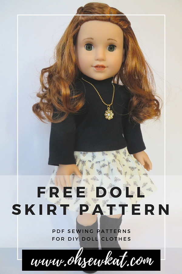 Download a free skirt pattern for your 18 inch doll, 14.5 inch doll, and disney princess doll at ohsewkat.com. More patterns and sizes available. #freesewingpattern #dollpattern #18inchdoll