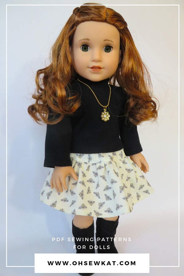 Sew doll clothes for Blaire Wilson, GOTY 2019 from American Girl. Easy to sew 18 inch doll clothes PDF digital patterns by Oh Sew Kat! #blairewilson #americangirldoll #ohsewkat