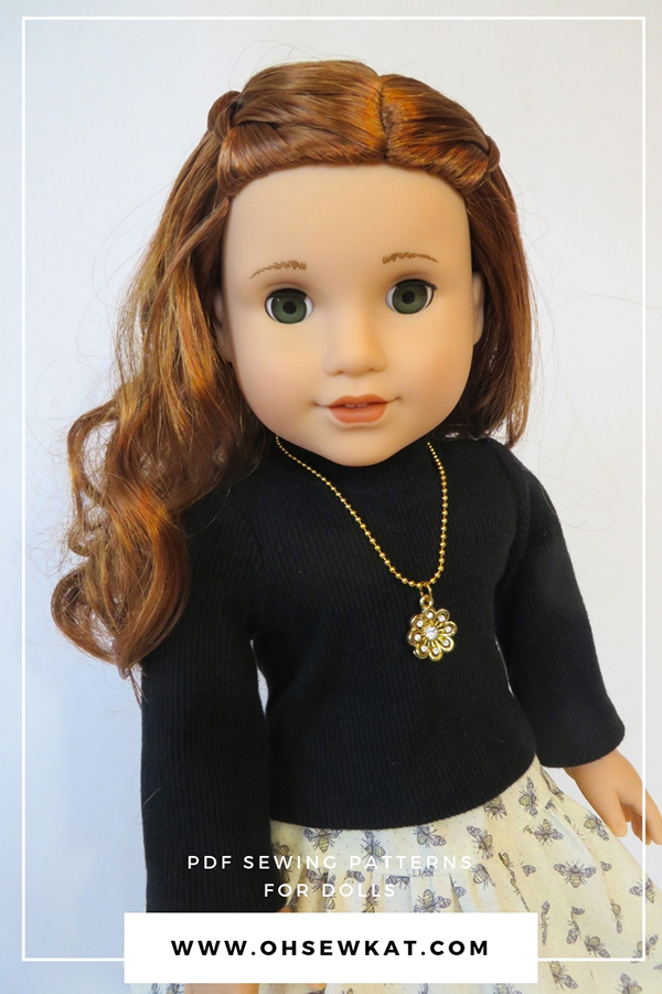 Sew your own turtleneck shirt for 18 inch dolls with the easy Jumping Jack sewing pattern from Oh Sew Kat!