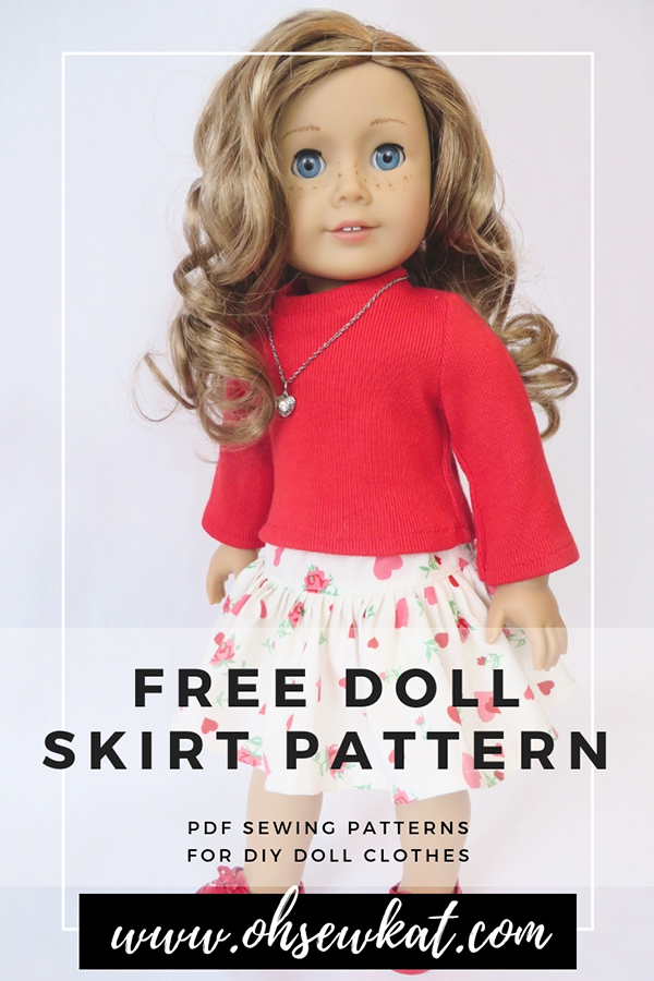 Make a cute skirt for your American Girl doll or Wellie Wishers with a free pattern from OH Sew Kat. Print at home digital patterns are easy to sew for beginners. #dollpattern #freepattern #skirt #americangirldoll #ohsewkat