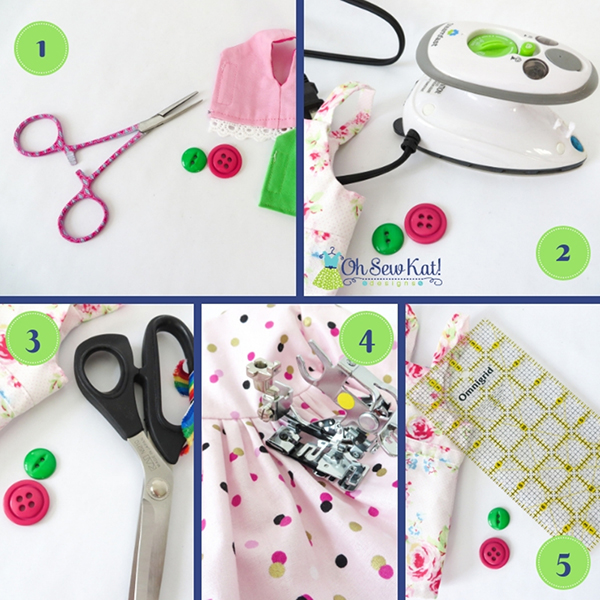 Find 5 sewing notions and tools you need to make better doll clothes and sewing projects from Oh Sew Kat! Designs- PDF sewing patterns for doll clothes. #diycrafts #sewing #notions #patterns