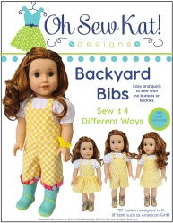 Sew easy and cute overalls for Blaire Wilson and other 18 inch dolls like American Girl with Backyard Bibs PDF Sewing pattern by OHSEWKAT. #sewingpattern #overalls #dollclothes #ohsewkat