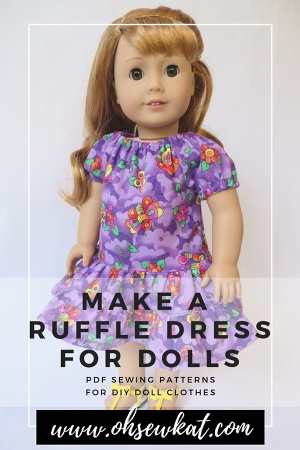 Make a dress for your 18 inch American Girl doll with this easy PDF sewing pattern for dolls by oh sew kat! #sewingpattern #dollclothes #beginnerproject #diydollclothes #ohsewkat