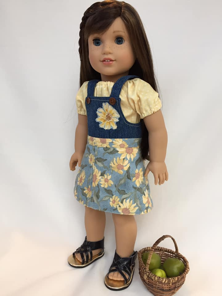 Make adorable bibbed overalls for you 18 inch dolls like American Girl with the Backyard Bibs easy sewing pattern from Oh Sew Kat! Fun to sew, digital download, print at home pattern is great for beginners. #ohsewkat #overalls #dollclothes #sewingpattern