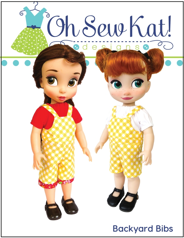 Make easy overalls for boy and girl animators dolls with this digital PDF pattern from OH Sew Kat! Easy to sew beginner level doll clothes patterns for animators like Anna, Elsa and Rapunzel. #animators #dollclothes