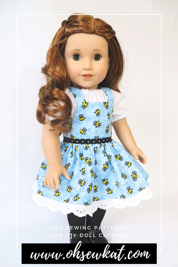 Make easy overalls with Oh Sew Kat's Backyard Bibs sewing pattern for 18 inch dolls like Blaire Wilson from American Girl. #dollclothes #sewingpatterns