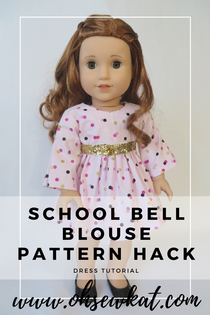 Make a sweet, Valentine dress for your 18 inch doll like American Girl Blaire Wilson with this easy pattern hack from Oh Sew Kat! Free skirt pattern at www.ohsewkat.com. #blairewilson #sewingpattern #dollclothes #ohsewkat