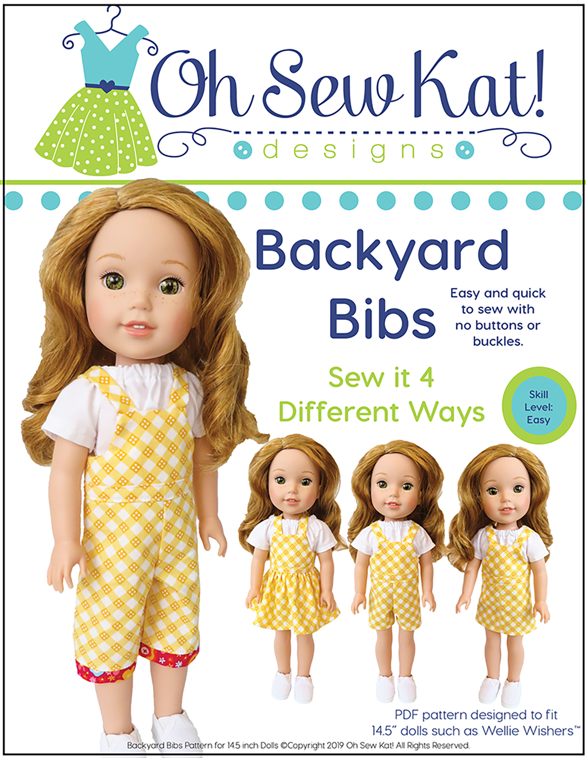 Easy sewing pattern for Wellie Wishers and Glitter Girls 14 inch dolls- Backyard Bibs PDF pattern from Oh Sew Kat! #welliewishers #dollclothes