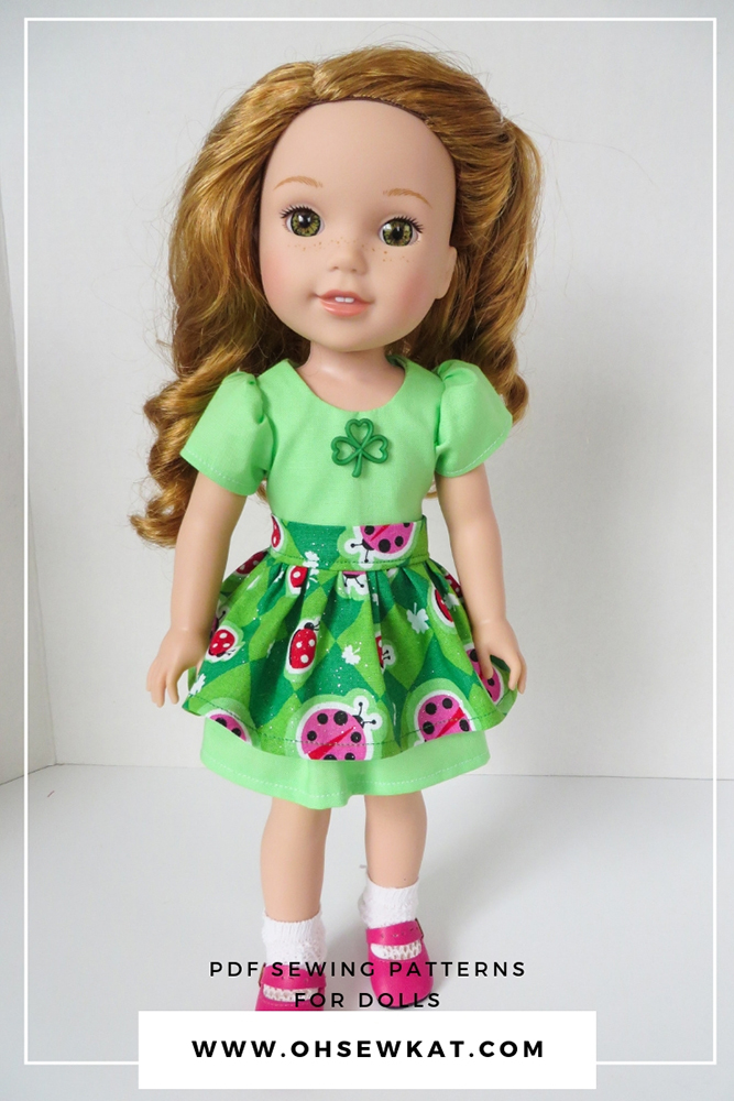 Make your own doll clothes for your 18 inch American Girl doll with easy to use easy print at home PDF patterns to sew doll clothes for your 18 inch, 14 inch and Bitty Baby dolls with patterns by Oh Sew Kat! #sewingpatterns #dollclothes #18inchdoll #ohsewkat