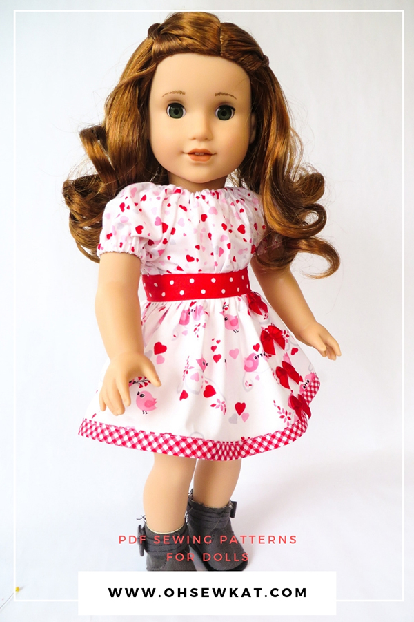 Make your own 18 inch doll clothes with budget friendly fabric from Walmart and Oh Sew Kat! digital PDF patterns for beginners. Download, print, sew with these easy tutorials to DIY beautiful doll clothes for popular dolls like American Girl and Wellie Wishers.