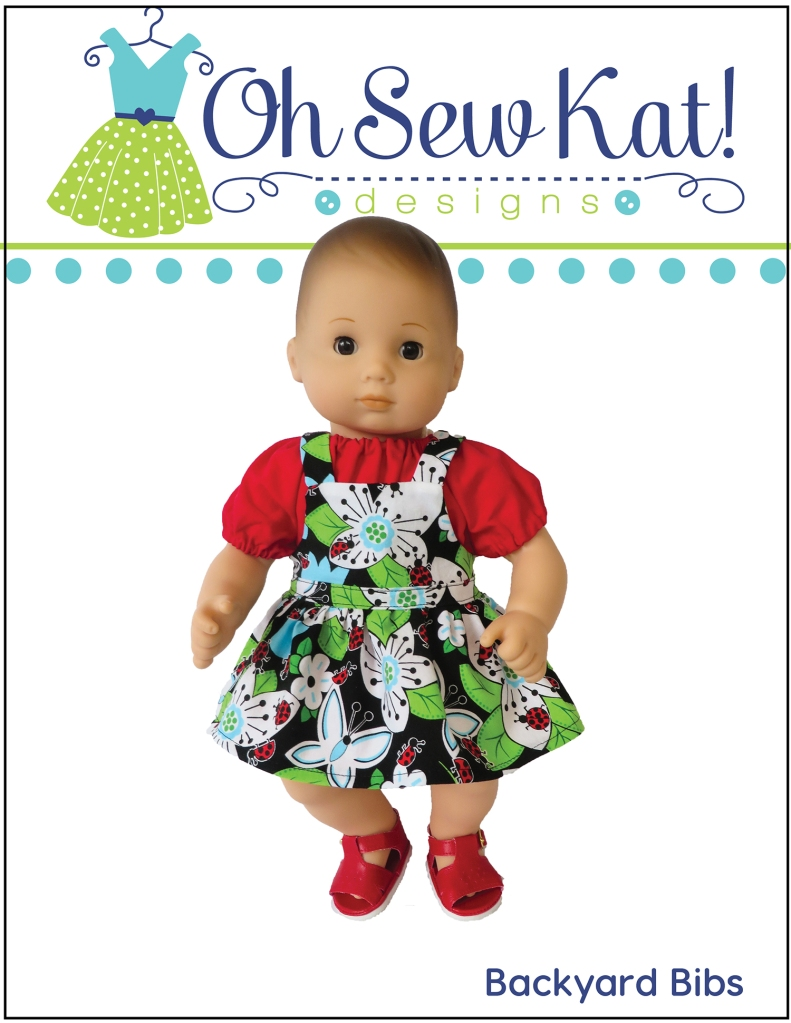 Make a sweet pair of overalls for your bitty twin and bitty baby 15 inch baby doll with the Backyard Bibs PDF pattern from Oh Sew kat! DIY doll clothes for baby dolls and 18 inch dolls too. #bittybaby #dollclothes