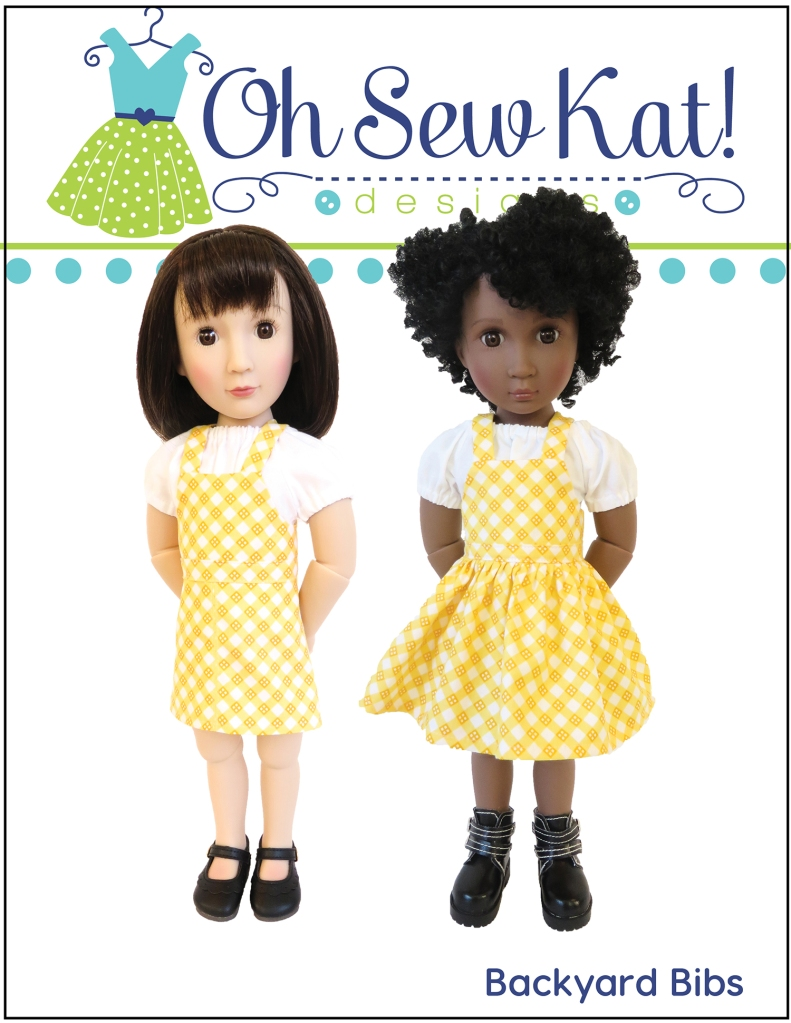 Make doll clothes for A Girl for All Time dolls with easy sewing patterns from OhSewKat. Backyard bibs has four variations and is quick to sew!