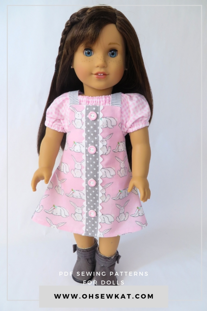 Easy Up! Easter jumper. Make a quick outfit for your American Girl doll with easy PDF sewing patterns from Ohsewkat