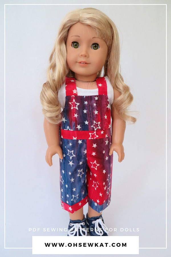 Backyard Bibs Overalls Sewing Pattern for 18 inch dolls like American Girl. Easy to sew PDF digital doll clothes patterns found at Oh Sew Kat!