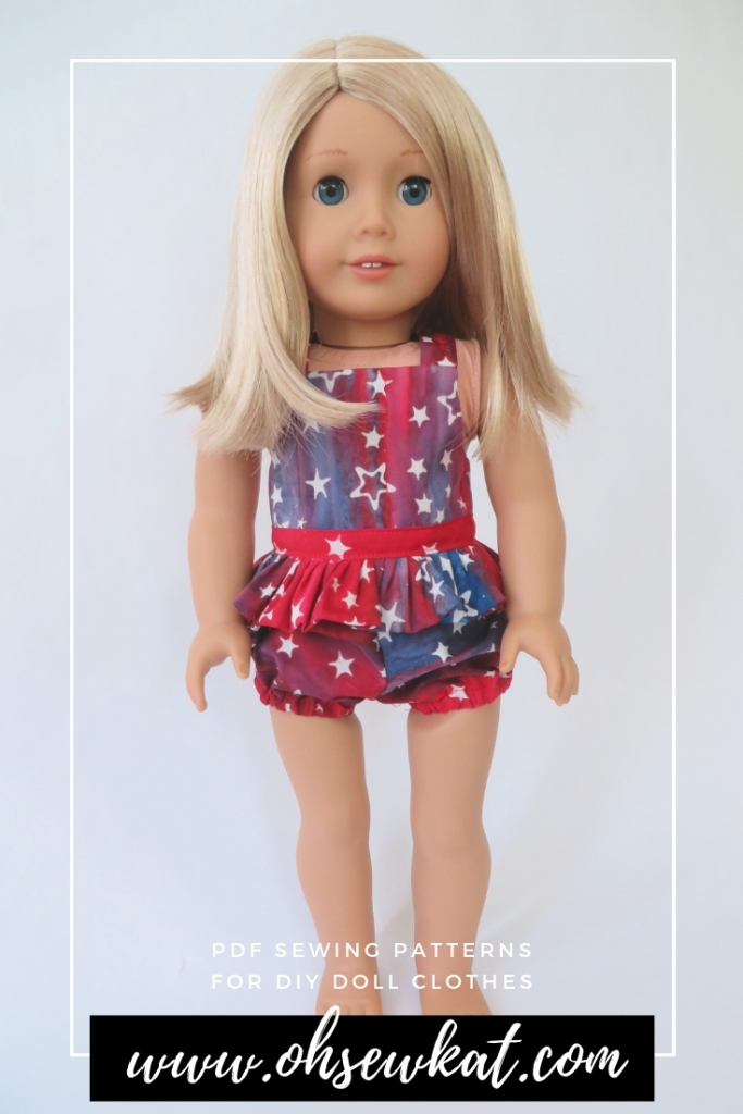 Make a summer top or swim suit with the Backyard Bibs Overalls sewing pattern for dolls like American Girl. Easy to sew digital PDF doll clothes patterns by Oh Sew Kat!