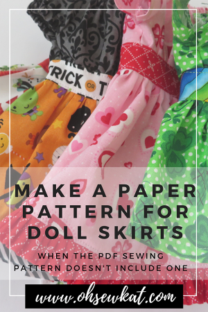 Make a paper pattern for a gathered doll skirt if the PDF Sewing pattern doesn't include one with this easy tutorial by Oh Sew Kat! Find easy to sew doll clothes sewing patterns on Etsy. #dollclothes #sewingpatterns #diy