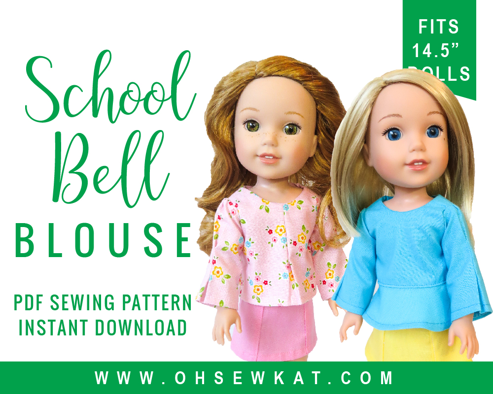 14 inch doll clothes sewing pattern by Oh Sew Kat! Make a School Bell Blouse for your Wellie WIshers American Girl doll with this easy sewing pattern you print at home! #welliewishers #ohsewkat #americangirldoll