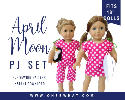 Make comfy pjs and a nightshirt with this easy sewing pattern for 18 inch American Girl dolls by Oh Sew Kat!
